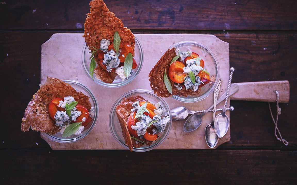 Baked apricots with Blue Cheese & walnut tuiles