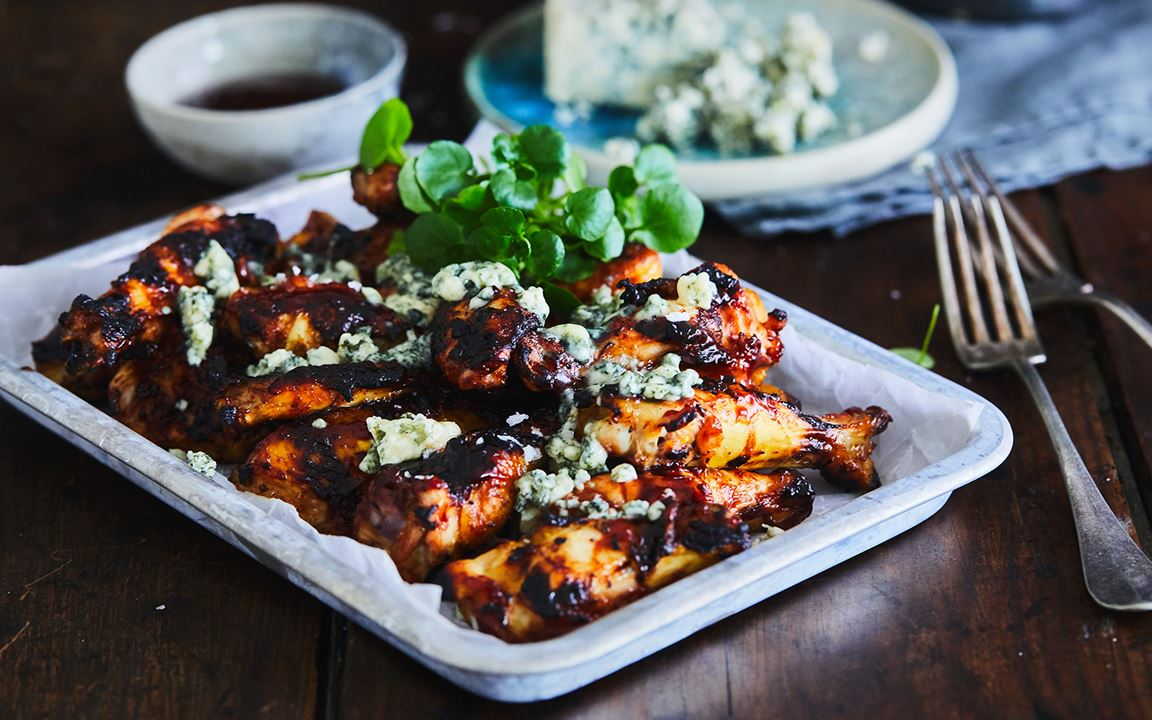 BBQ chicken wings with Blue Cheese