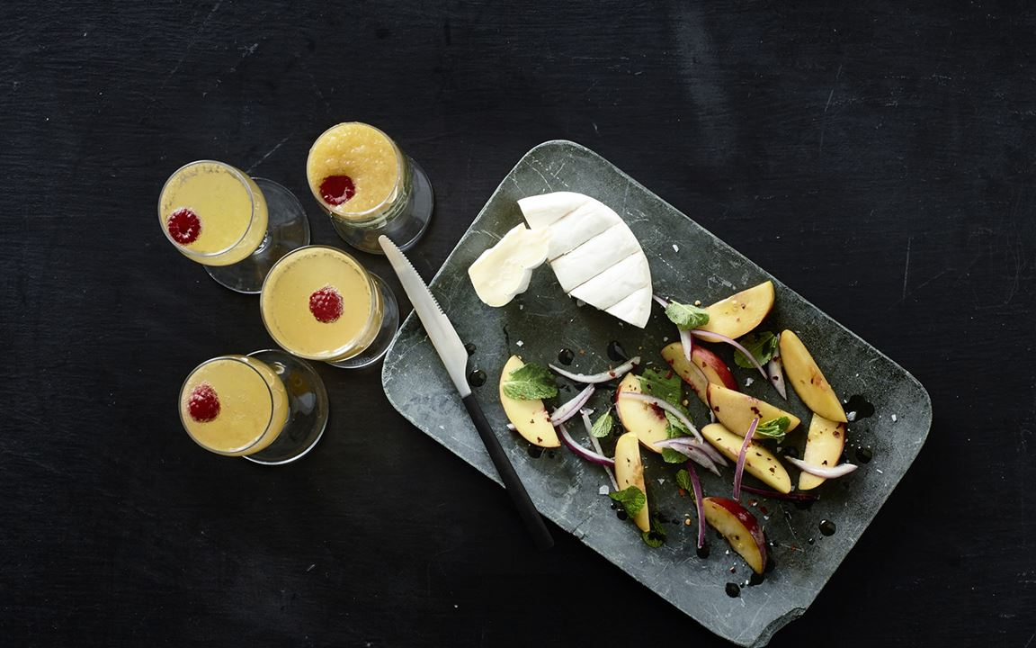 Bellini with creamy white & marinated peaches