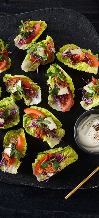 BITE SIZE LETTUCE CANAPES WITH CREAM CHEESE