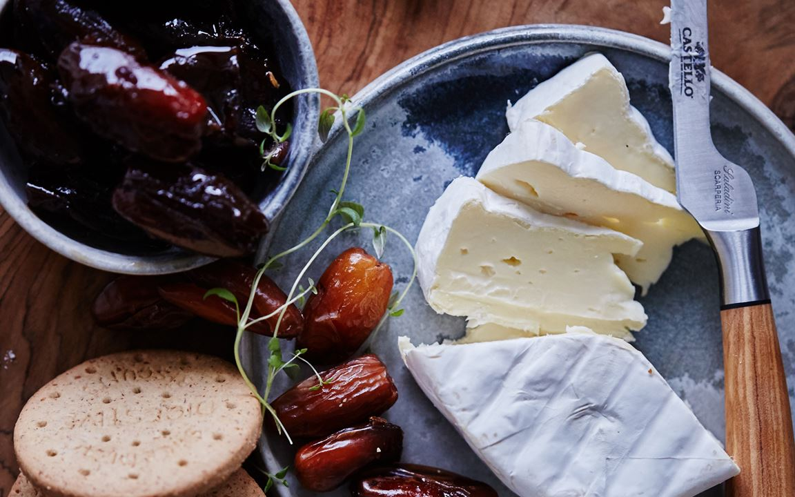Creamy Goat Cheese with dates boiled in coffee