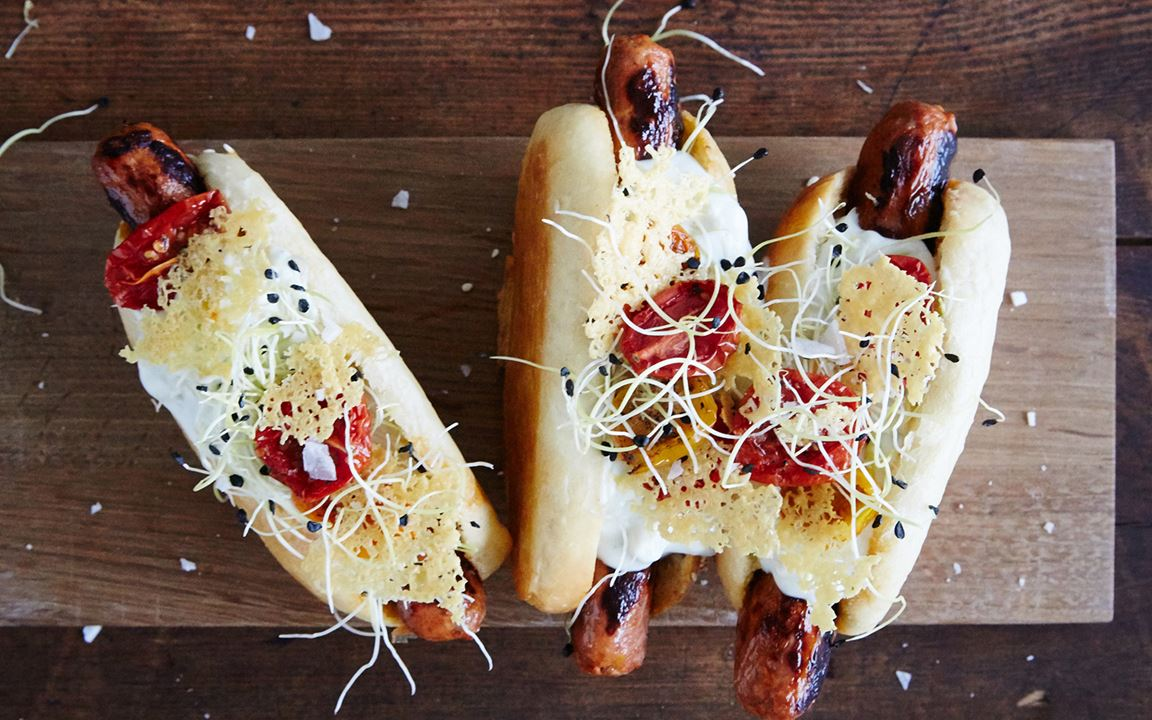 Merguez hot dogs with Blue Cheese dressing