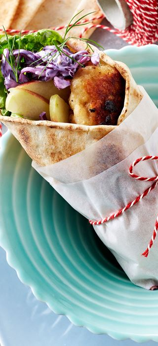 Chicken meatballs with red cabbage salad in flatbread