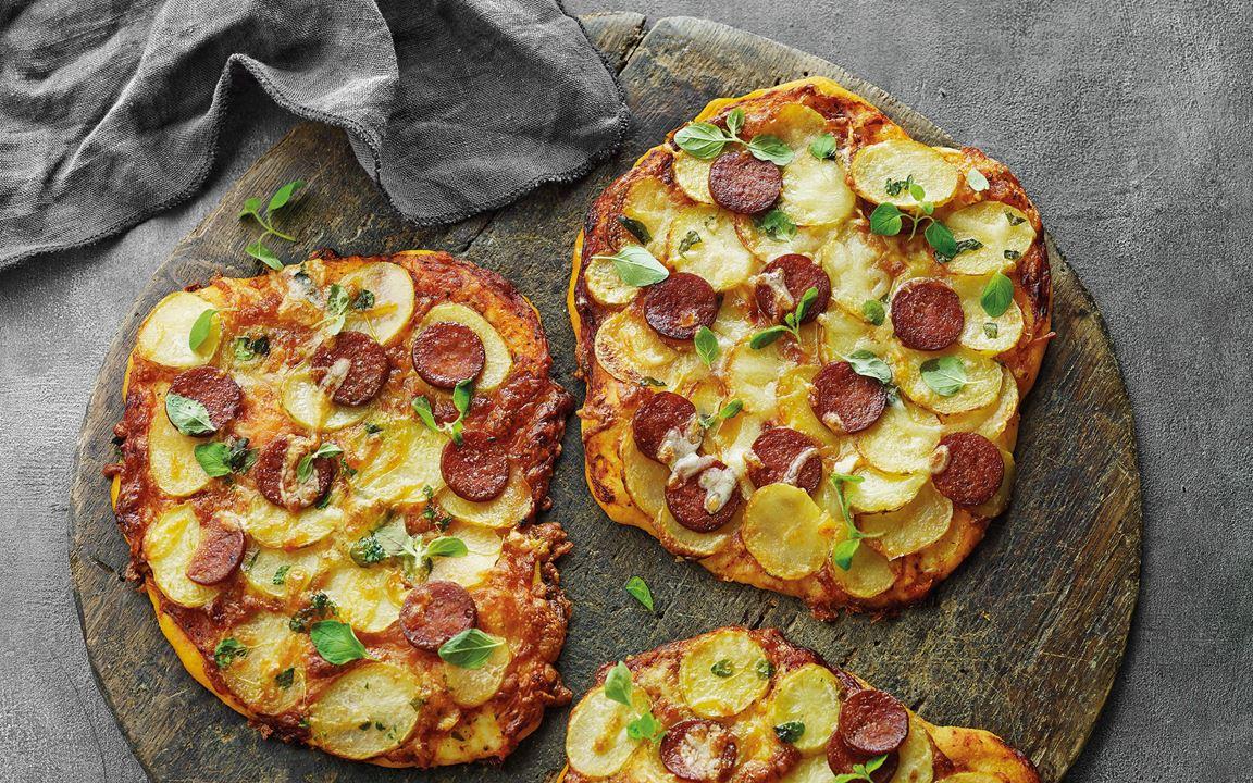 Crispy potato pizzas