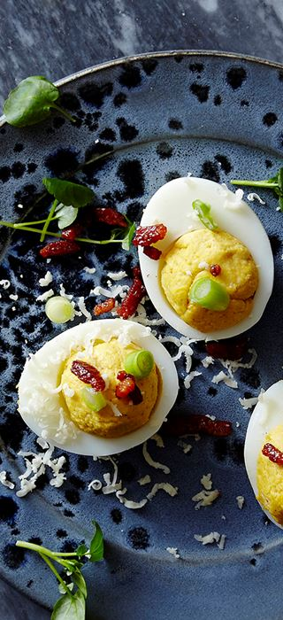 Deviled eggs with Cheddar and Blue Cheese