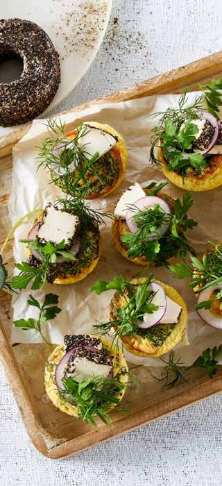 EGG MUFFINS WITH BLACK PEPPER CREAM CHEESE