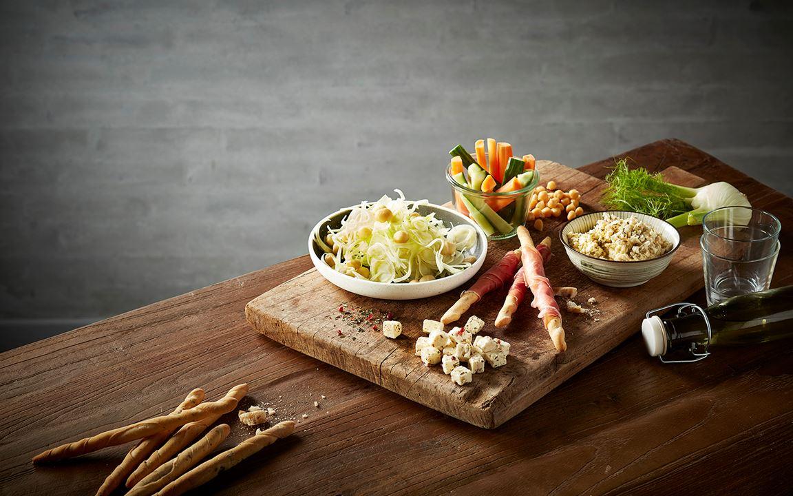 Feta, serrano grissini & fennel salad