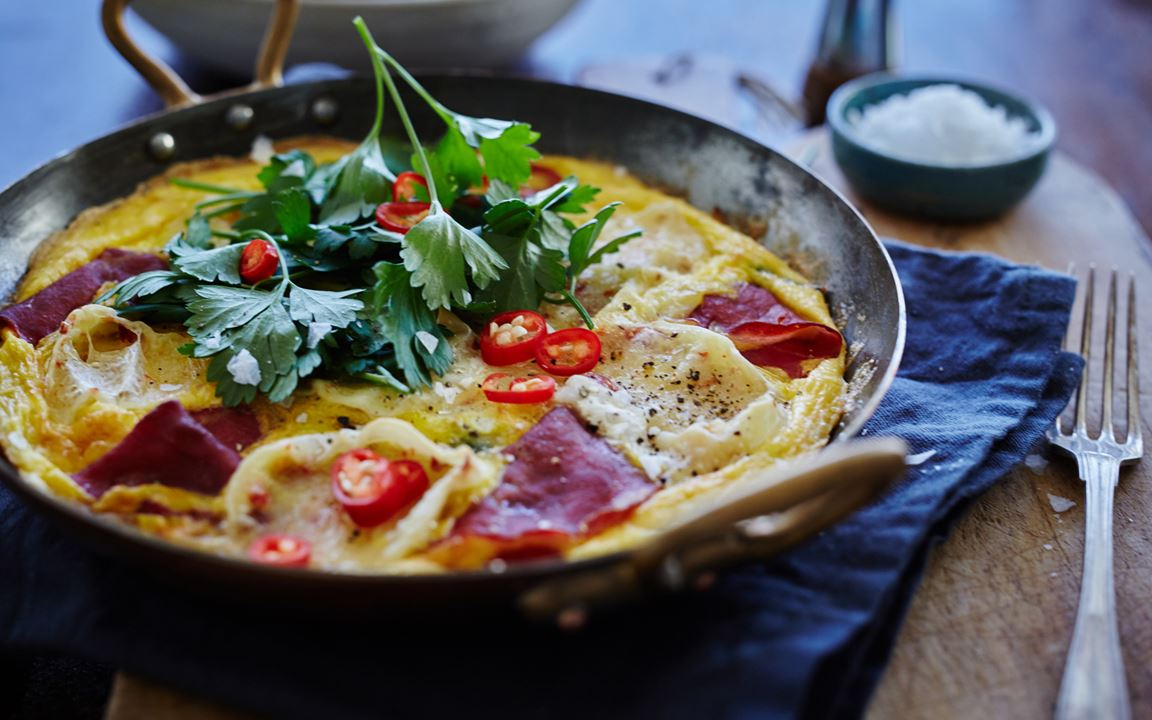 Frittata with White with Chili & bresaola