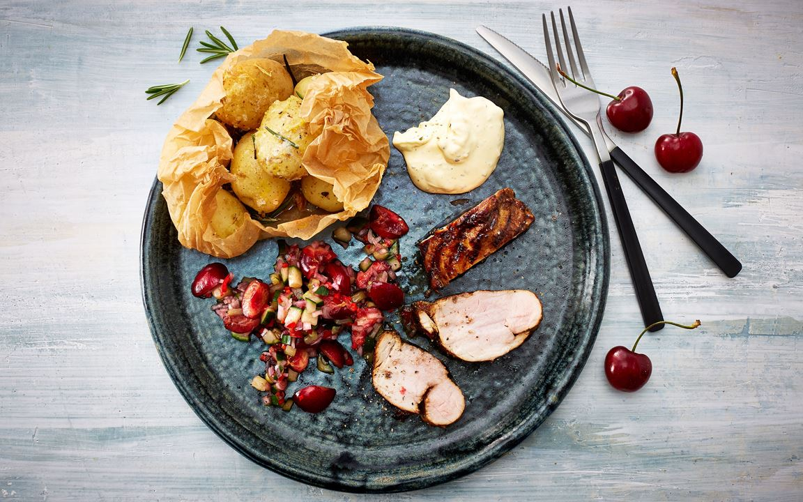 Grilled pork tenderloin with spicy cherry salsa and smoked potatoes