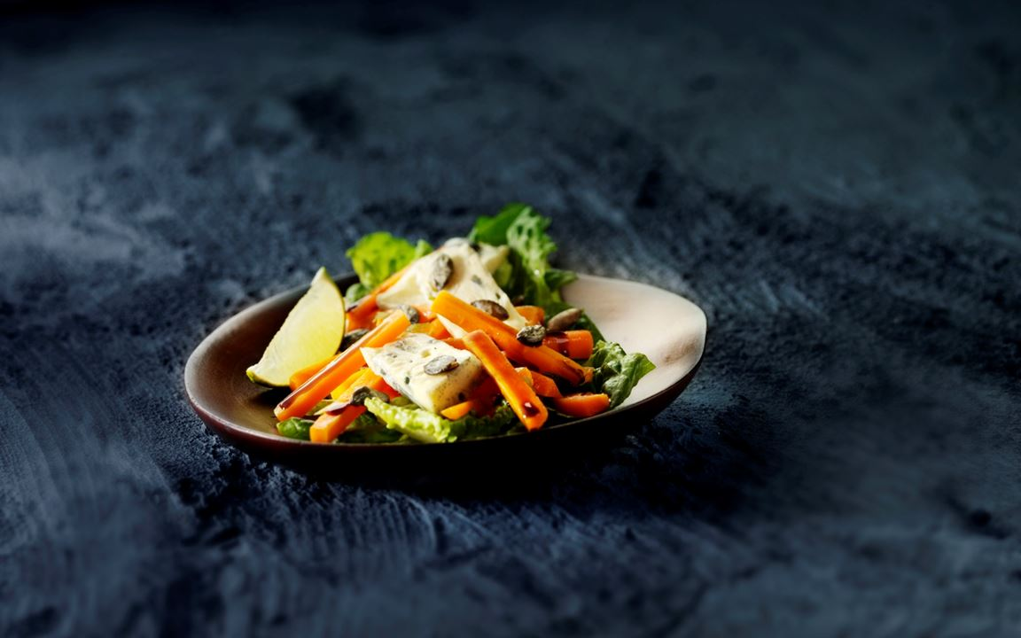Marinated carrots with pumpkin seeds