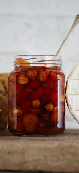 Pickled rosehips with hazelnuts
