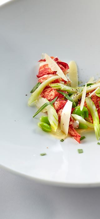 Poached lobster with lemon sauce