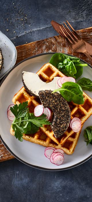 SAVOURY WAFFLES WITH BLACK PEPPER CREAM CHEESE