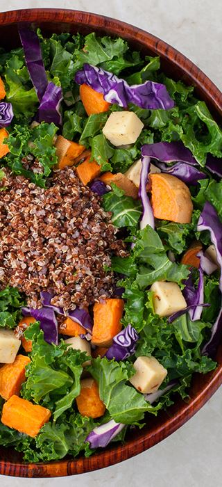 Sweet potato & kale salad with Havarti Cheese