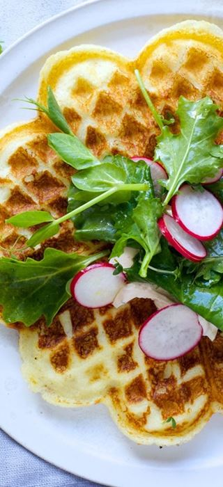 Waffles with spicy Cream Cheese dip
