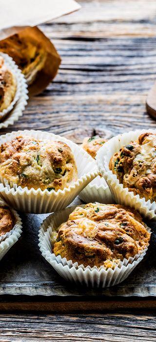 Muffins med Castello® Blå og spinat