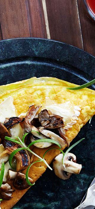 Omelett med sopp og timian