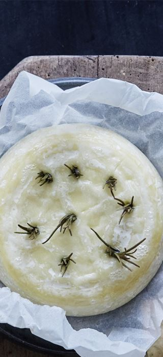 Baked Extra Creamy Brie with rosemary