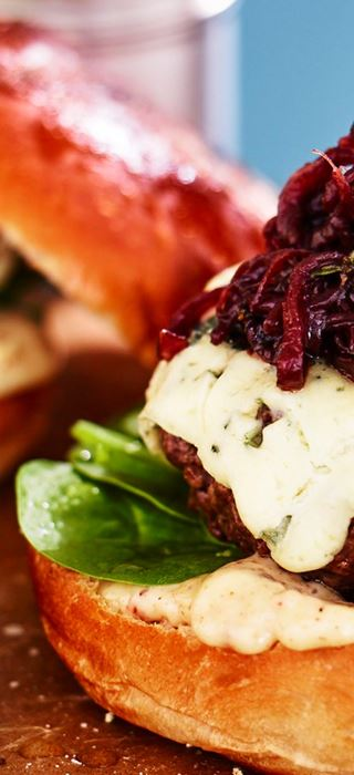Brisket burgers with Blue Cheese