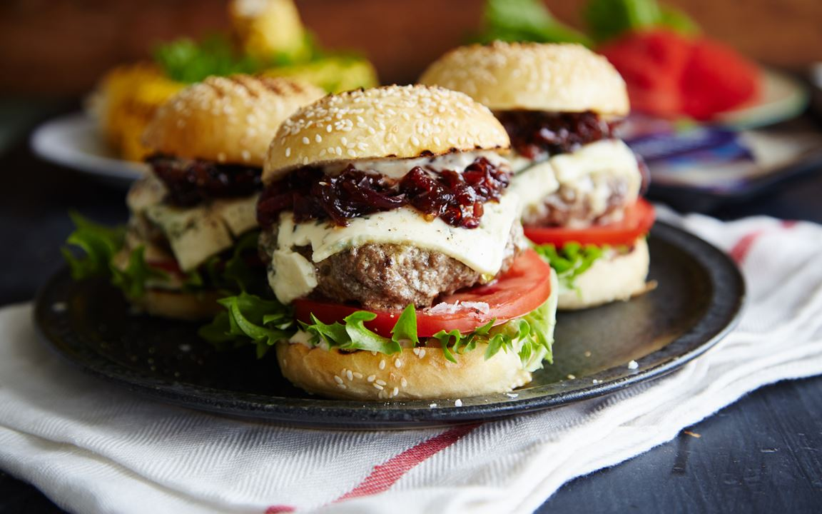 Blue Cheese sliders with red onion-strawberry relish