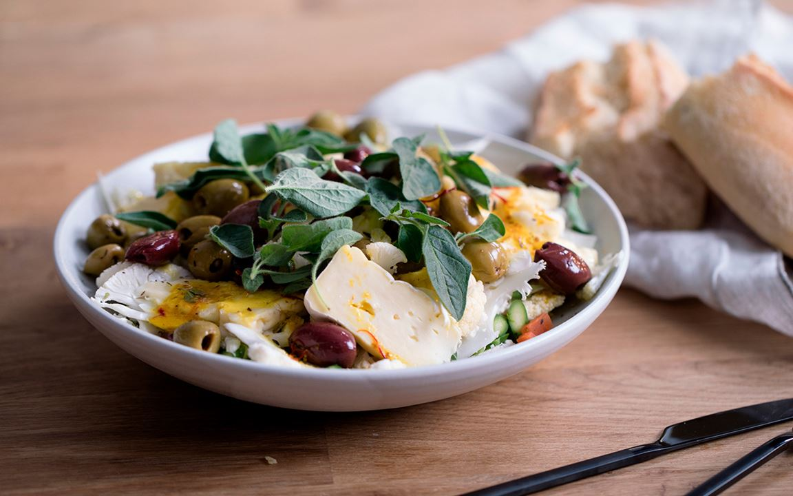 Cauliflower Salad with saffron vinaigrette and Creamy Brie