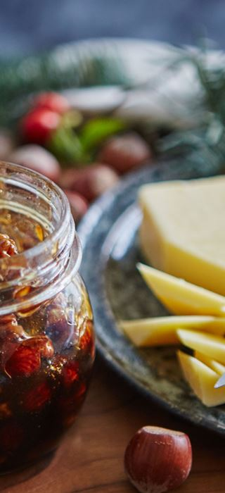 Mature cheddar with pickled nuts