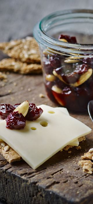 Cherry compote with almonds