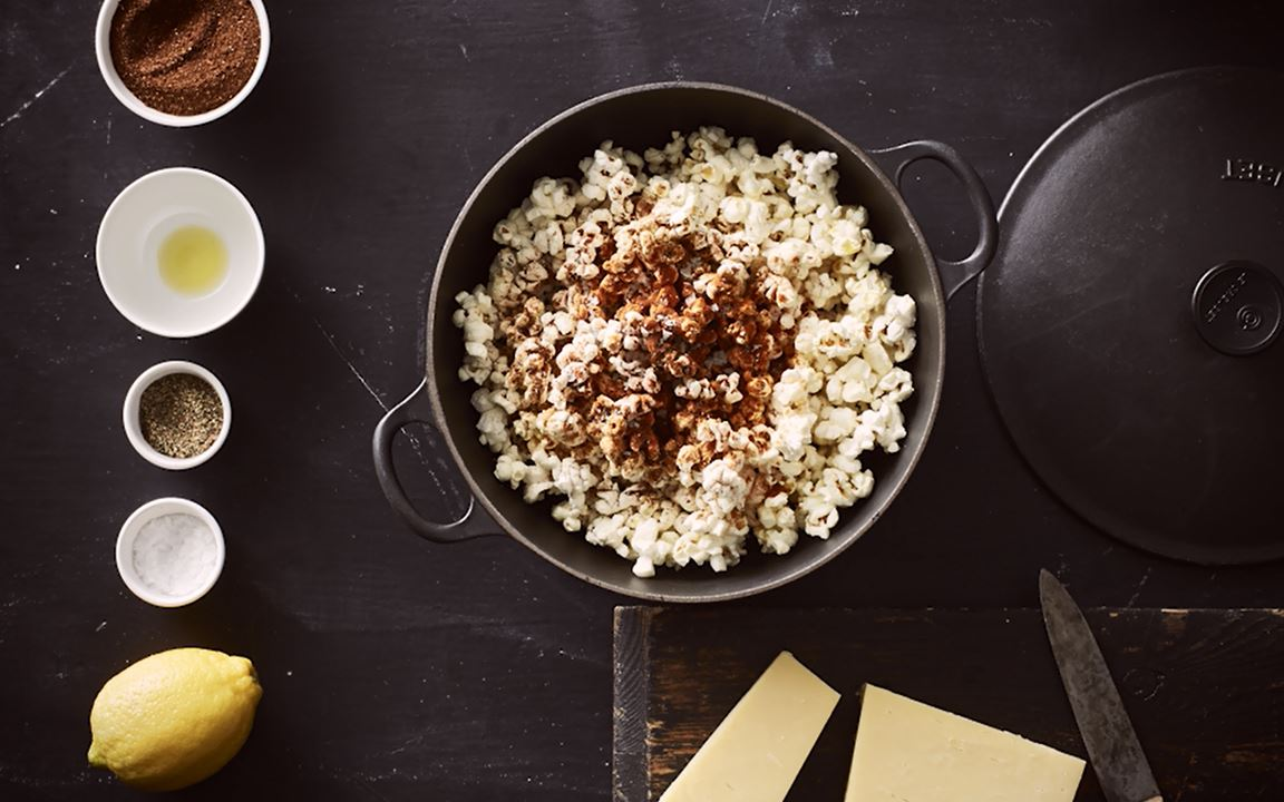 Chilli cheese popcorn with Castello Tickler Matured Cheddar
