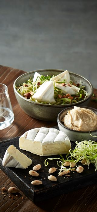 Salad with Extra Creamy Brie and hummus