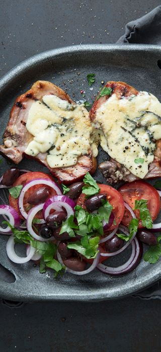 Grilled summer pork chops  with Castello Blue Cheese Slices