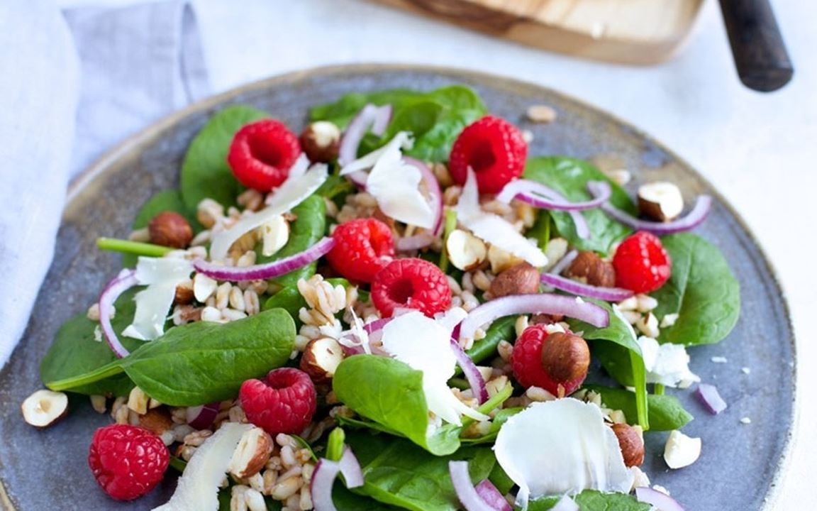 Nordic salad with raspberries and mature cheddar cheese