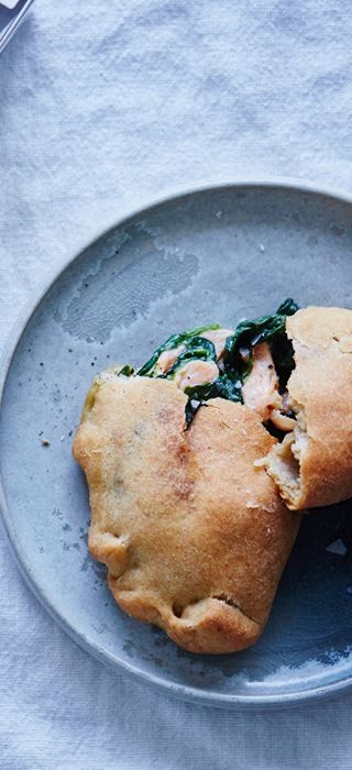 Pierogis with salmon, spinach and Creamy Blue