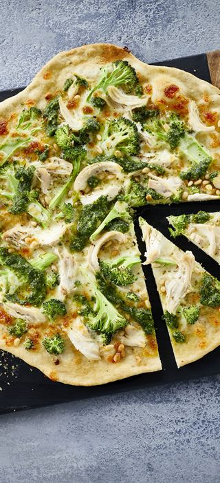 Pizza with chicken and pesto