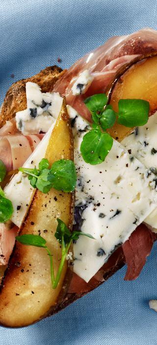 Prosciutto and pear open faced sandwich