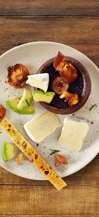 Roasted mushrooms with rosemary, avocado and Castello Extra Creamy Brie