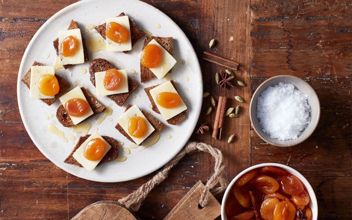 Aged Havarti with pickled apricots