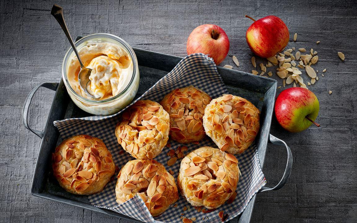 Apple tarts with ginger and salt caramel