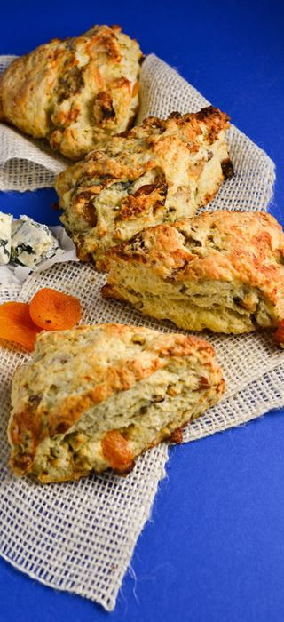 Apricot walnut and Blue Cheese scones