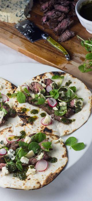 Balsamic skirt steak tacos with Blue Cheese chimichurri