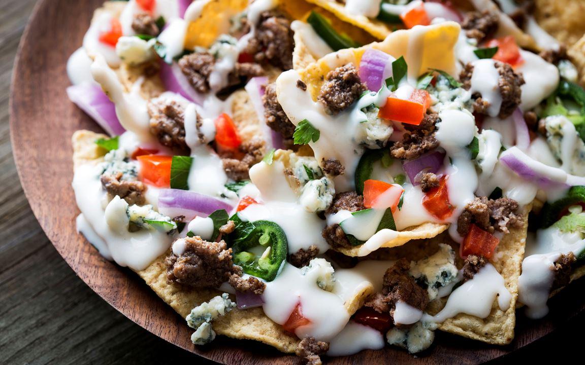 Beefy Blue Cheese nachos