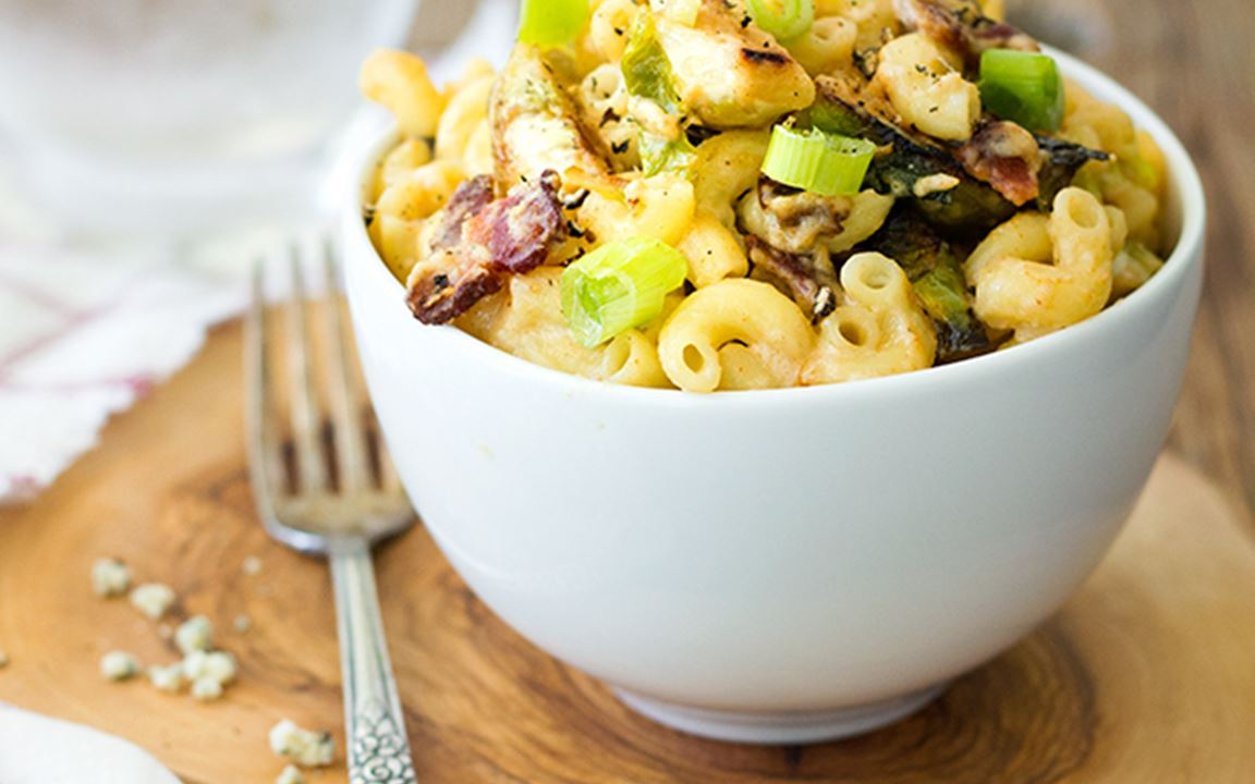 Blue Cheese, bacon & brussels sprouts mac & cheese