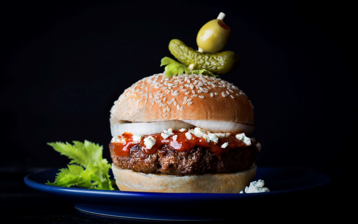 Blue Cheese Bloody Mary burger