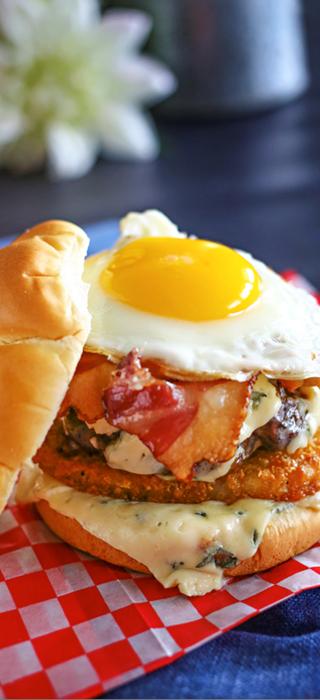 Blue Cheese breakfast burger