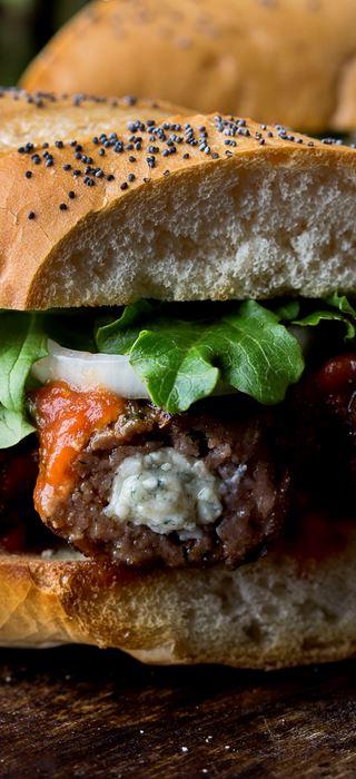 Blue Cheese stuffed meatball sandwich