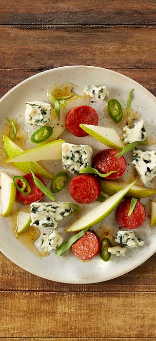 Blue Cheese with chorizo, pear and chili-lime syrup