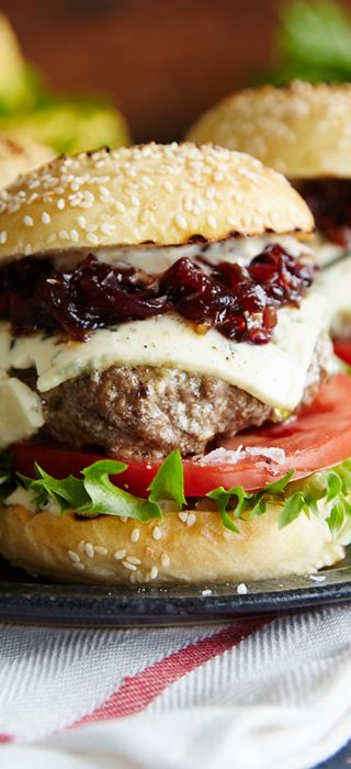 Sliders with Blue Cheese & Red Onion-Strawberry Relish