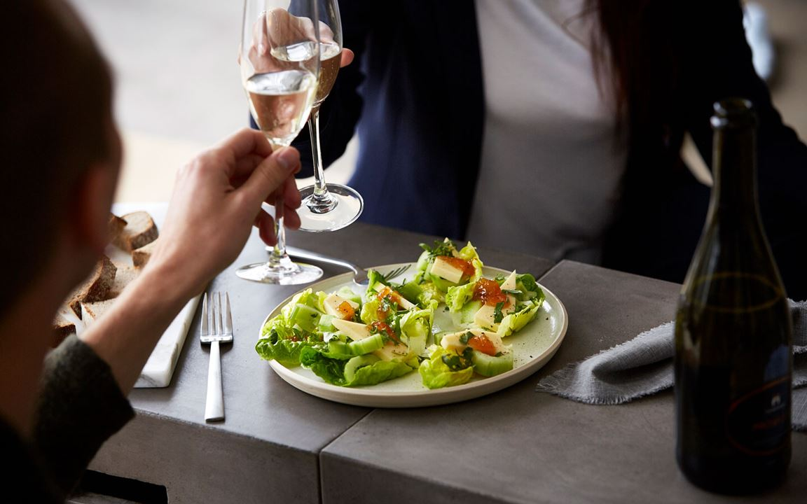 Heart Salad Boats with Cheddar & Mango Chutney