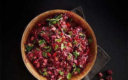 Coleslaw of red cabbage, beets and pomegranate seeds