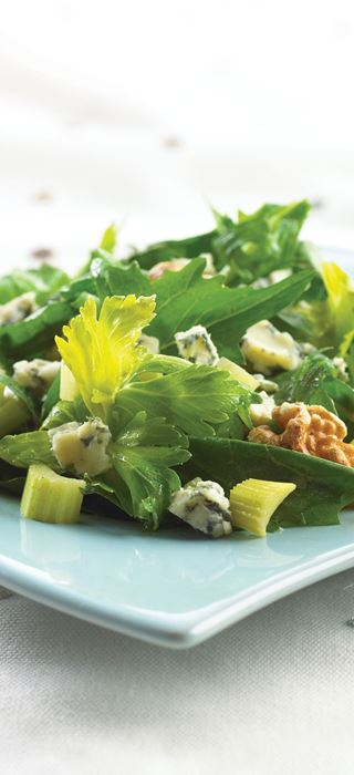 Dandelion Blue Cheese salad with walnuts
