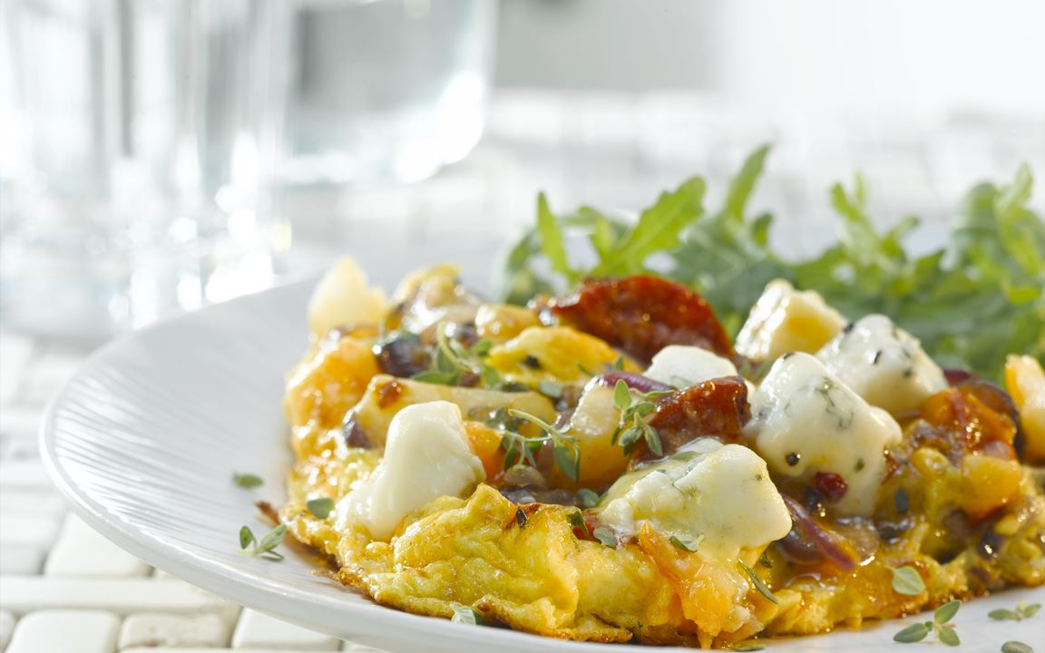 Frittata with chorizo and Blue